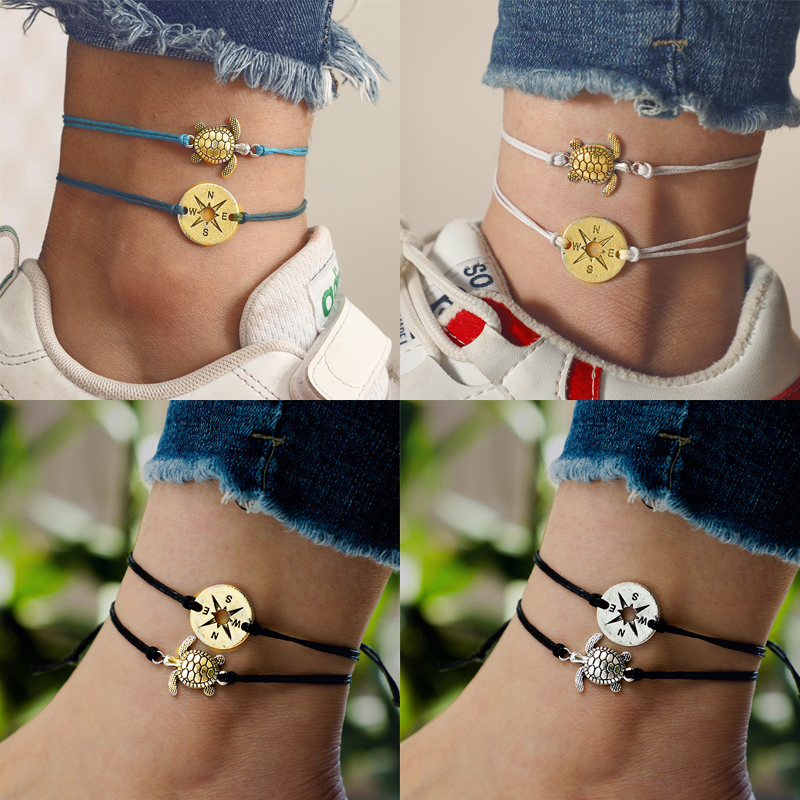 Summer Beach Turtle Shaped Charm Rope String Anklets For Women Ankle Bracelet Woman Sandals On the Leg Chain Foot Jewelry