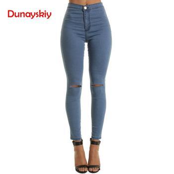 Dunayskiy Women Cool Denim High Waist Pants Summer Style Hole Skinny Ripped Jeans For Women Skinny Black White Blue Casual Jeans фото
