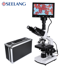 Zoom 5MP HD Digital Binocular biological Lab Microscope led light +7-inch LCD + electronic eyepiece + USB Data line+Metal box