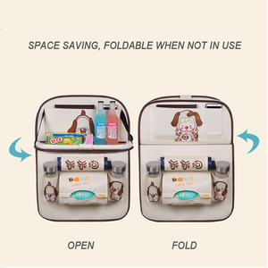 Image 5 - Cartoon Multi Pocket Car Seat Back Hanging Organizer Universal Auto Pad Cup Storage Holder Bag Car styling Protector Accessories