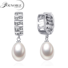 Wedding White Natural Freshwater Hoop Pearl Earrings For Women,925 Silver Earring With Daughter Gift