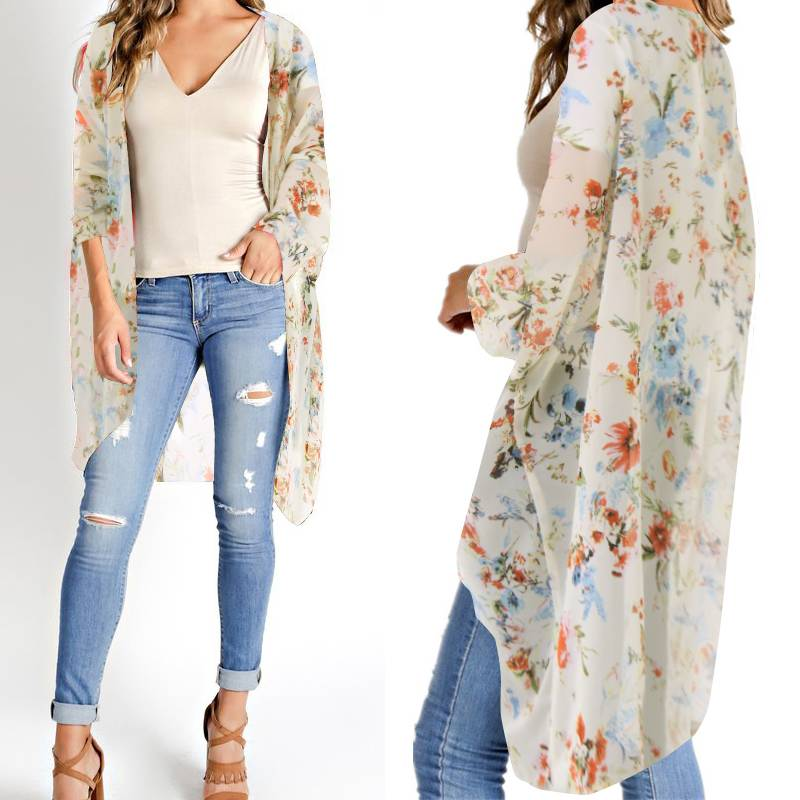 ZANZEA 2020 Summer Bohemian Printed Kimono Women Floral Tops Chiffon Blouse Cardigans Female Beach Cover Up Plus Size Blusas