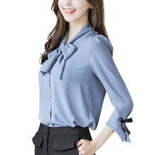 Women Casaul Bow Loose Chiffon Blouse Ruffled Solid Color Round Collar Trumpet Sleeve Blouse sweet half sleeve round neck ruffled women s chiffon blouse