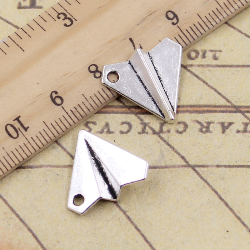 10pcs Charms Paper Airplane Plane 18x17mm Tibetan Silver Color Pendants Antique Jewelry Making DIY Handmade Craft Pendant image
