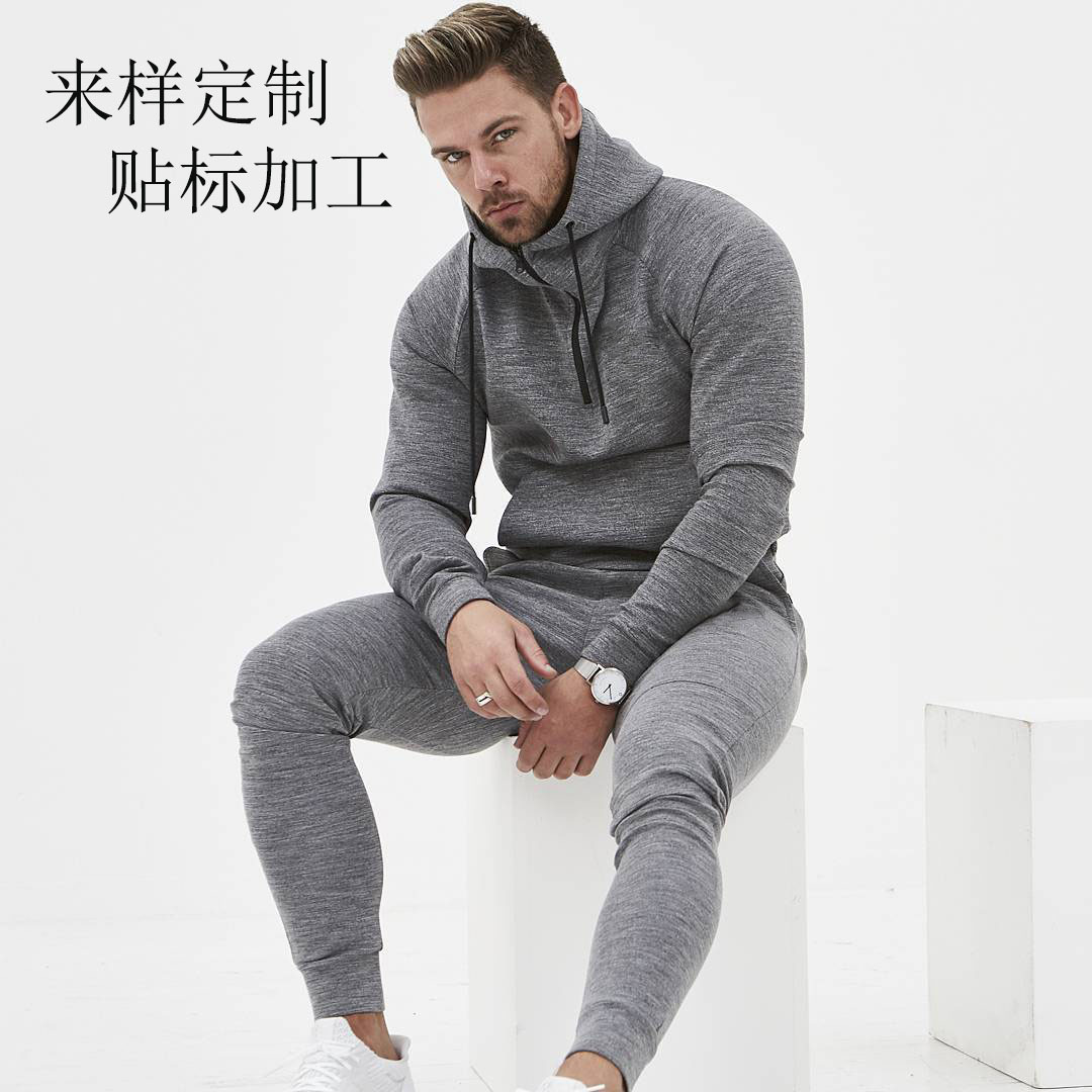 Vanquish Cotton Casual Sports Suit Muscle Brothers Fitness Running Trend Training Pullover Light Board Logo Custom Men's Wear