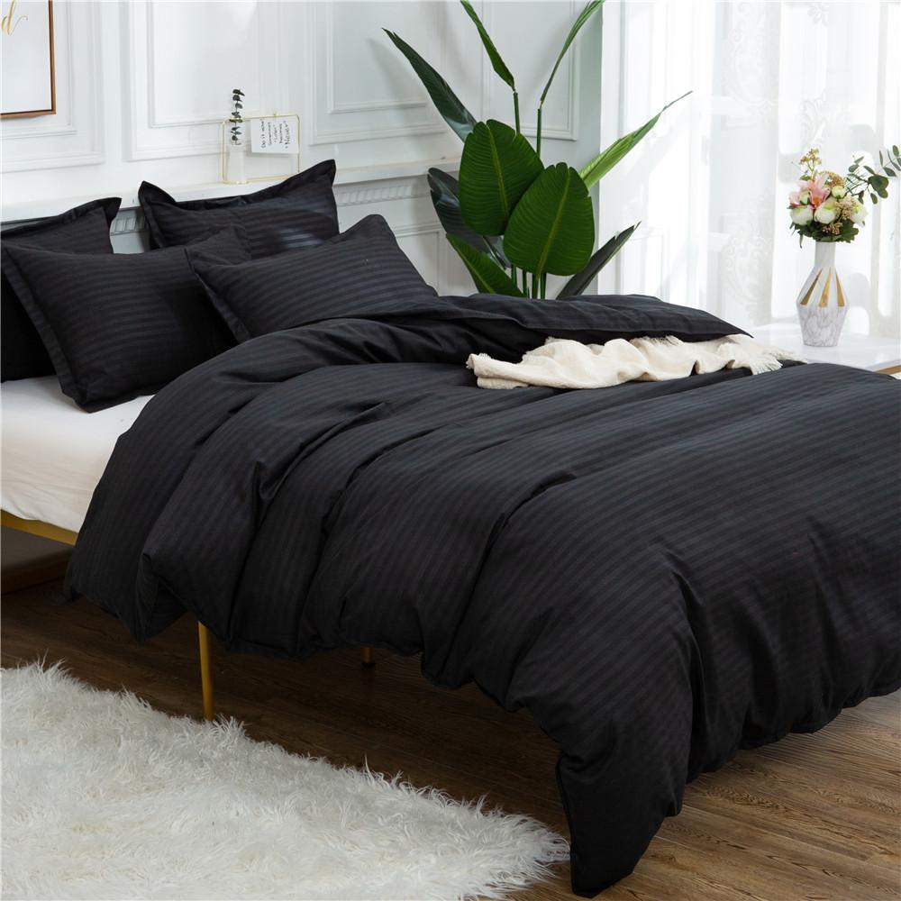 Home Textile Black Quilt Set Double Queen King Size Bedding Set Solid Color High Quality Comforter Duvet Cover