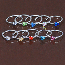 Delicate Sliver Zircon C-shape Anti Allergy Stainless Steel Woman Fake Nose Ring Sexy Piercing Earring Body Jewelry