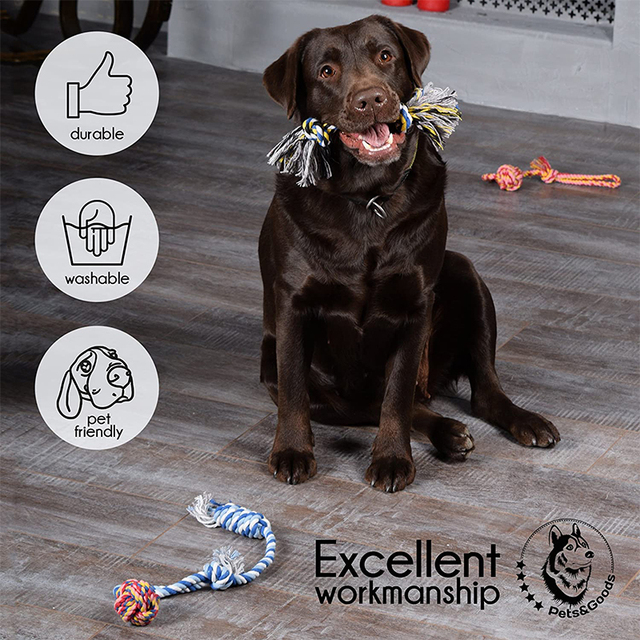 Pets dogs pet supplies Pet Dog Puppy Cotton Chew Knot Toy Durable Braided Bone Rope Funny Tool (Random Color )