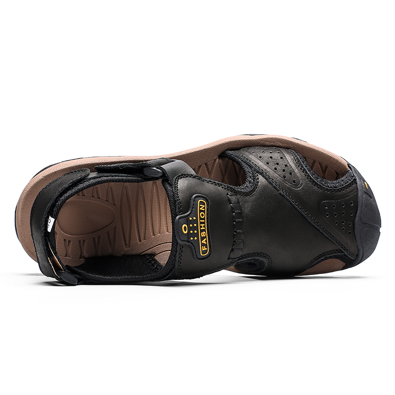 Image 4 - High Quality Men Sandals Genuine Leather Sandals Summer Casual Shoes Men's Roman Beach Sandals Sandalias De Hombre De Cuero-in Men's Sandals from Shoes