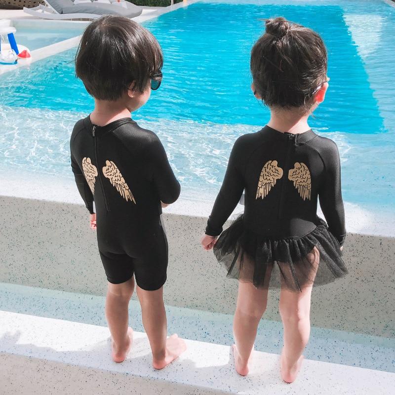 Men's KID'S Swimwear Women's Girls One-piece Long Sleeve Sun-resistant Little Princess Swimwear Cute Small CHILDREN'S INS Tour B