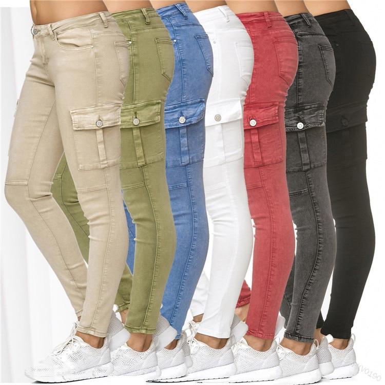 Plus Size New Fashion Women Jeans High Waist Skinny Pants Women Casual Jeans Denim Pants Women Cargo Pencil Long Pants