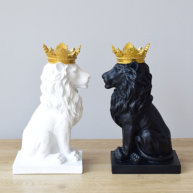 Abstract Crown Lion Sculpture Home Office Bar Male Lion Faith Resin Statue Model Crafts Ornaments Animal Origami Art Decor Gift 1