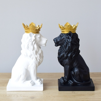 Abstract Crown Lion Sculpture Home Office Bar Male Lion Faith Resin Statue Model Crafts Ornaments Animal Origami Art Decor Gift
