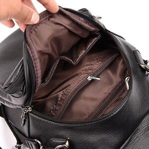 Image 4 - Серый рюкзак для женщин 2020, кожаный рюкзак большой емкости, женский рюкзак, сумка через плечо для молодых сумок
