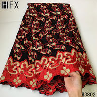 HFX African Lace Fabric 2020 High Quality Cotton Ankala Lace Swiss Voile Lace in Switzerland Stones Embroidery Swiss Cotton L721
