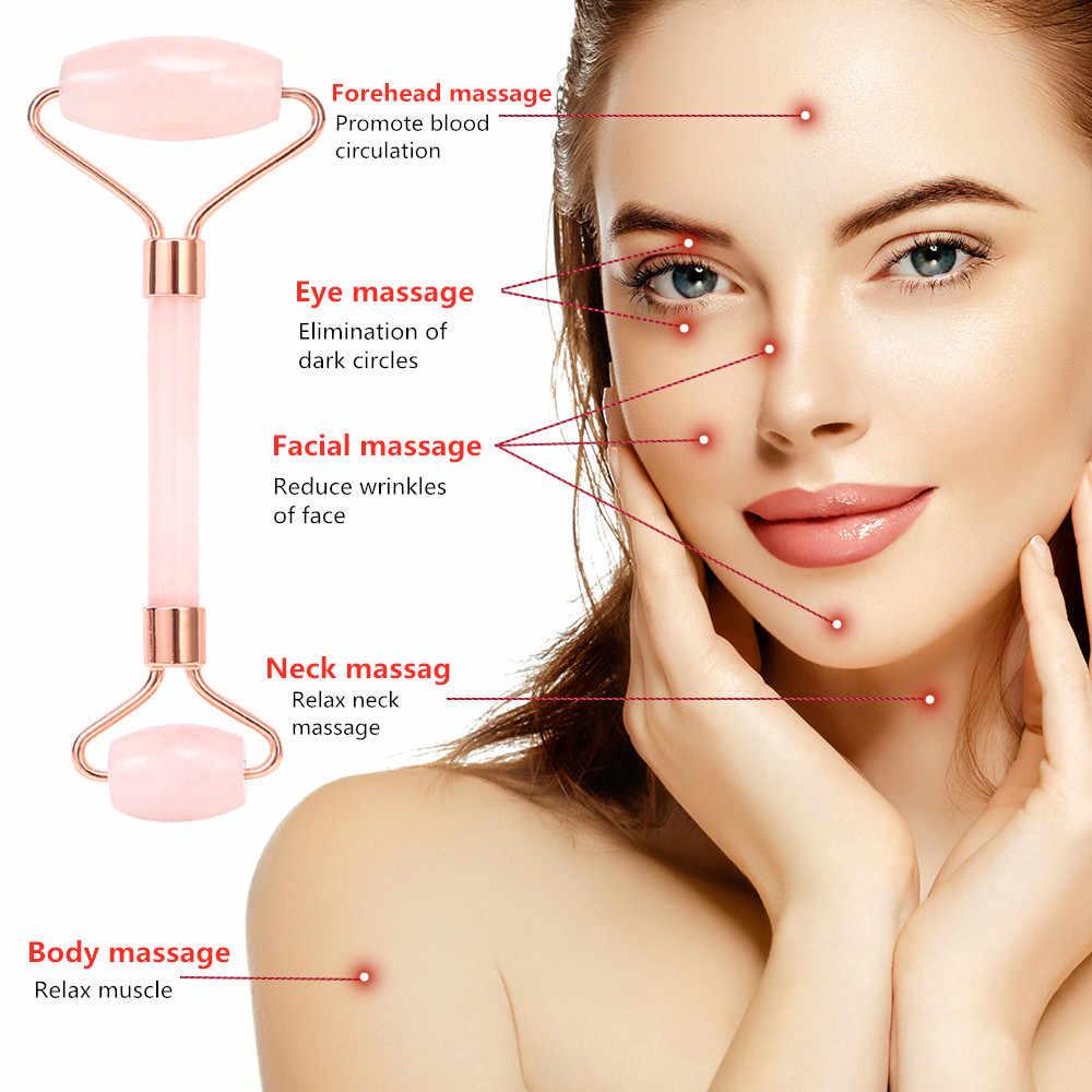 تدليك الوجه بكرة تدليك الوجه والاسترخاء وفقدان الوزن 100% مكشطة الطبيعية من الكوارتز الوردي مدلك أدوات العناية بالبشرة الجمال