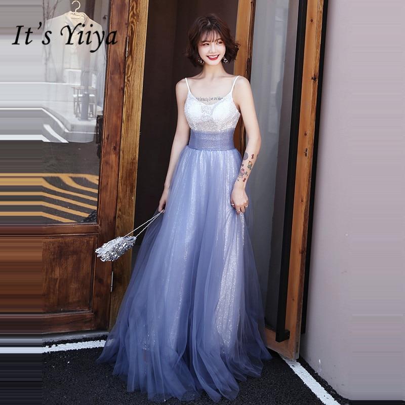 C'est Yiiya robes De soirée bateau cou-parole longueur Robe De soirée longue grande taille sans manches Sequin femmes robes De soirée E873