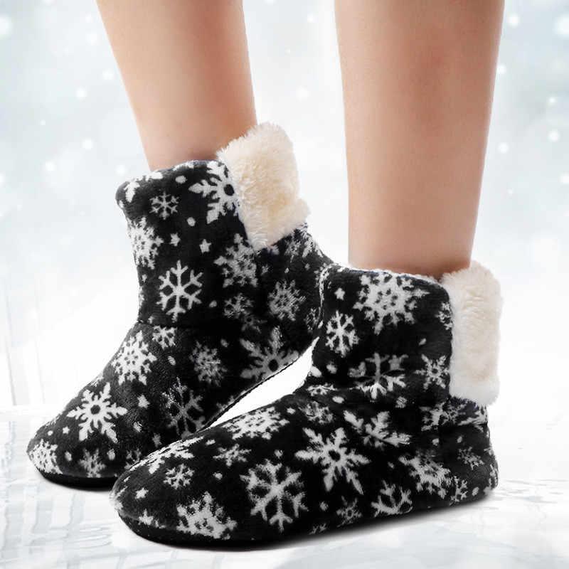 Ankle Boots para Mulheres De Pele Desliza Sapatos Casa Do Floco De Neve da Neve do Inverno Quente Sapatos Casa Piso Sapatos Palmilha De Pele Botas Mujer