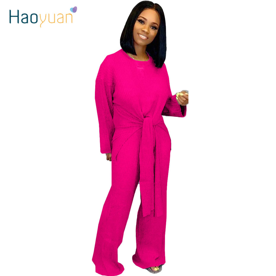 HAOYUAN 2 Piece Set Tracksuit Women Fall Clothing Loose Long Sleeve Sweater Top Wide Leg Pant Two Piece Outfits Matching Sets