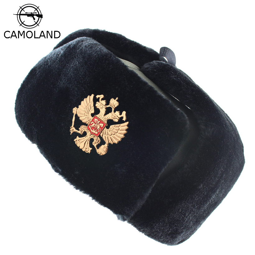 Soviet Badge Russia Ushanka Men Winter Bomber Hats Pilot Faux Fur Earflap Trapper Trooper Hat Russian National Emblem Snow Hats