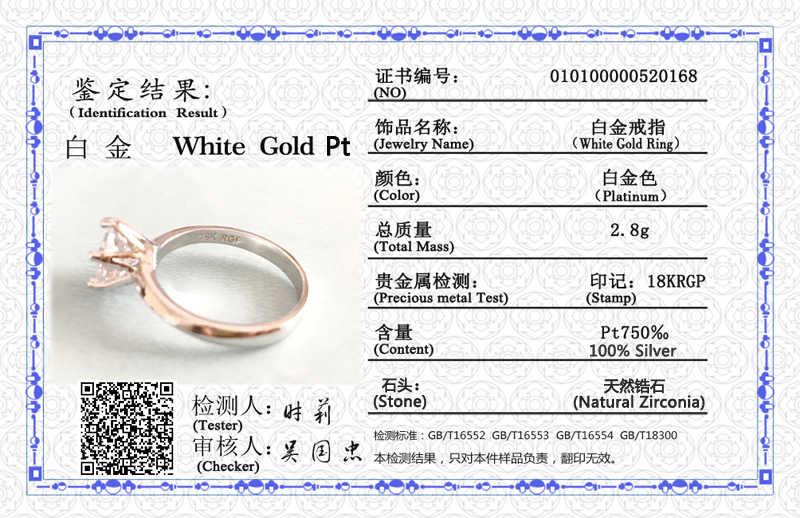 90% OFF! Mit Zertifikat 18K RGP LOGO Weiß Gold Ringe Solitaire Natürliche 8mm 2,0 ct Zirkonia Diamant Ring Silber Hochzeit ringe