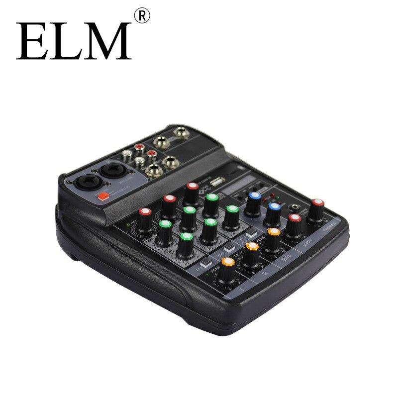 ELM Audio Mixer Mixing Console Karaoke Bluetooth Compact Sound Card Mixing Console Digital BT MP3 USB For Music DJ Recording