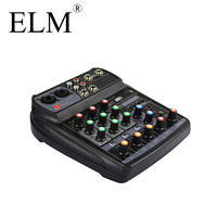 ELM Audio Mixer Mixing Console Karaoke bluetooth Compact Sound Card Mixing Console Digital BT MP3 USB for Music DJ recording