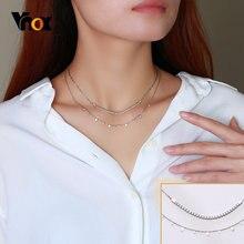 Vnox-collares de doble cadena de lujo para mujer, Gargantilla de piedras CZ ostentosas, regalos, fiesta de aniversario de cumpleaños, joyería para mujer