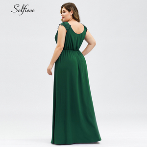 Image 4 - נשים קיץ שמלה בתוספת גודל אלגנטי קו V צוואר כבוי כתף ארוך שיפון אפליקציות תחרה המפלגה שמלת 2020 Vestidos robe Femme