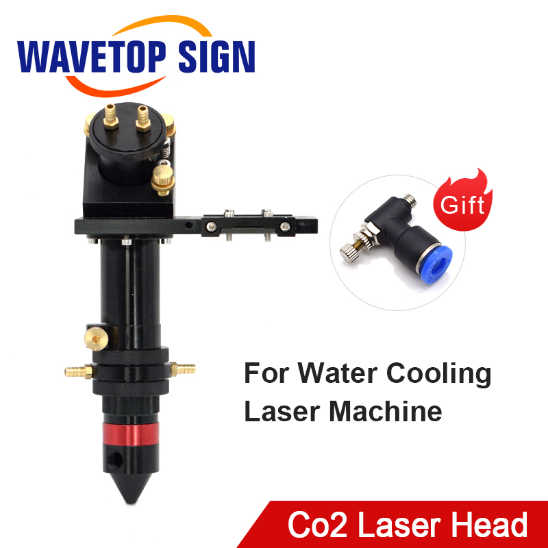 CO2 Laser Head With Water Cooling Interface Mirror 30x3mm Focus Lens 20/25x63.5mm For Water Cooling Laser Machine