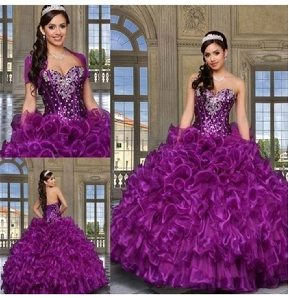 Dress Ball Gown Quinceaneras Dresses Sweetheart Neckline Beading Multi-Layers Full-Length Vestidos De Quinceaneras With Jacket