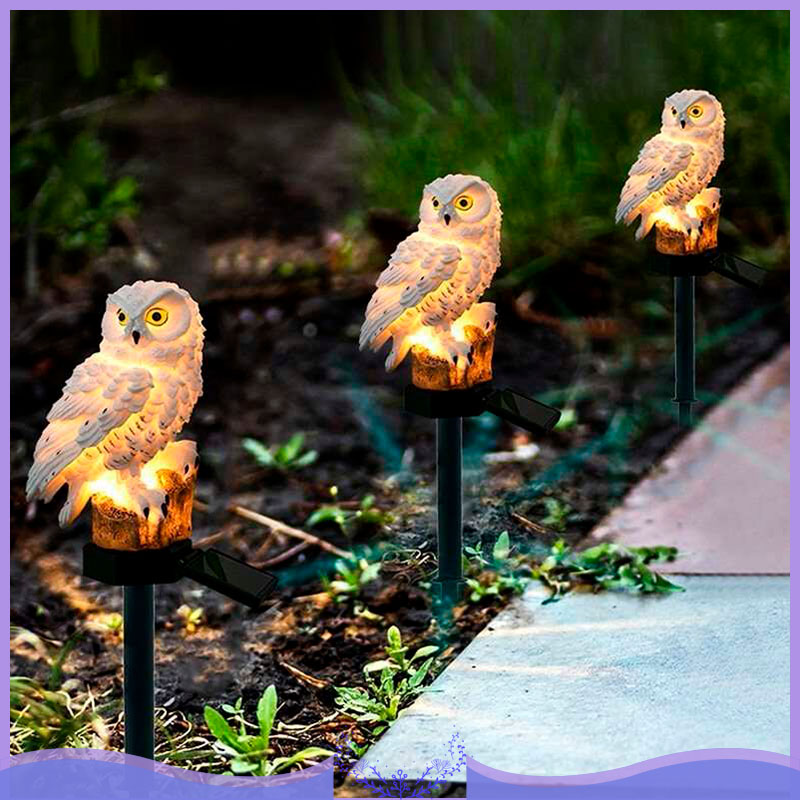 2pcs Solar Powered Outdoor Garden LED Light Up Path Ornament Decoration Owl
