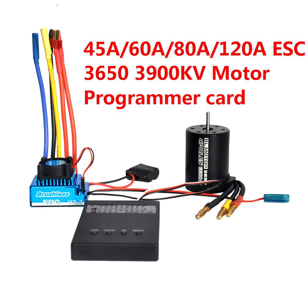 3650 3900KV Brushless Motor 45A 60A 80A 120A Brushless ESC With Program Car Combo For 1/8 1/10 1/12 RC Car RC Boat Part