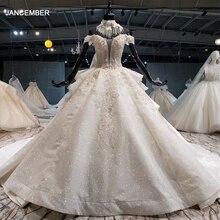 HTL1067 блестящие свадебные платья, роскошное бальное платье невесты с воротником и цепочкой, сделано в Китае, vestido casamento dia