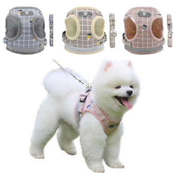 Reflective Dog Cat Harness Adjustable Vest Walking Soft Mesh Breathable Pet Collar Traction Leash Set for Dog Pet Supplies 1