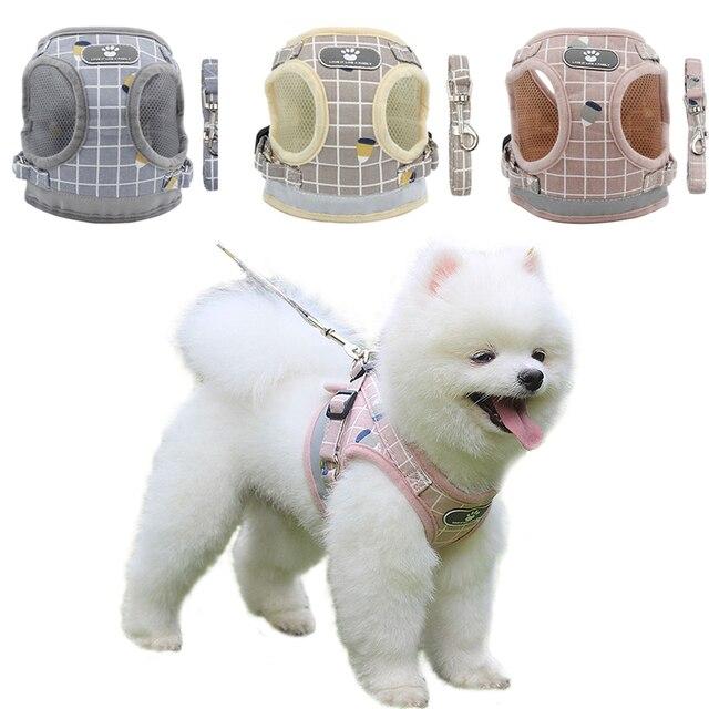 Reflective Dog Cat Harness Adjustable Vest Walking Soft Mesh Breathable Pet Collar Traction Leash Set for Dog Pet Supplies 1