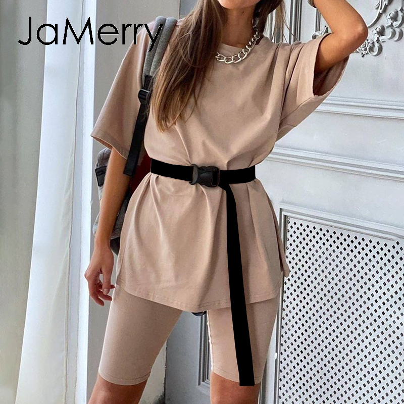 JaMerry  Casual Solid New Women's Two Piece Suit Including Belt Solid Color Home Loose Sports Fashion Leisure Suit Summer 2020