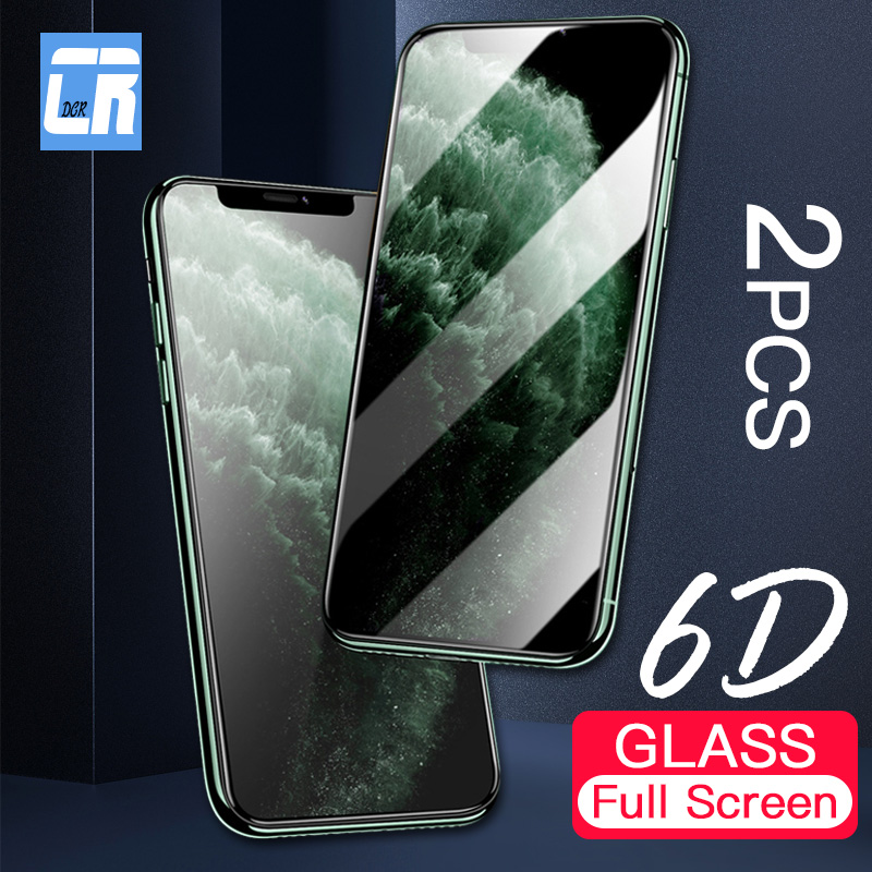 2Pcs 6D Curved Edge Protective Glass for <font><b>iPhone</b></font> 11 Tempered Glass for <font><b>iPhone</b></font> 11 Pro XR <font><b>XS</b></font> MAX 8 7 6S Plus Screen Protector <font><b>Film</b></font> image