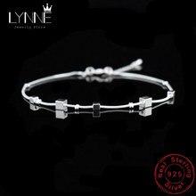 Bracelet de cheville de plage en argent Sterling 925 pour femmes, pendentif carré, chaîne de pied, à la mode, bijoux cadeau