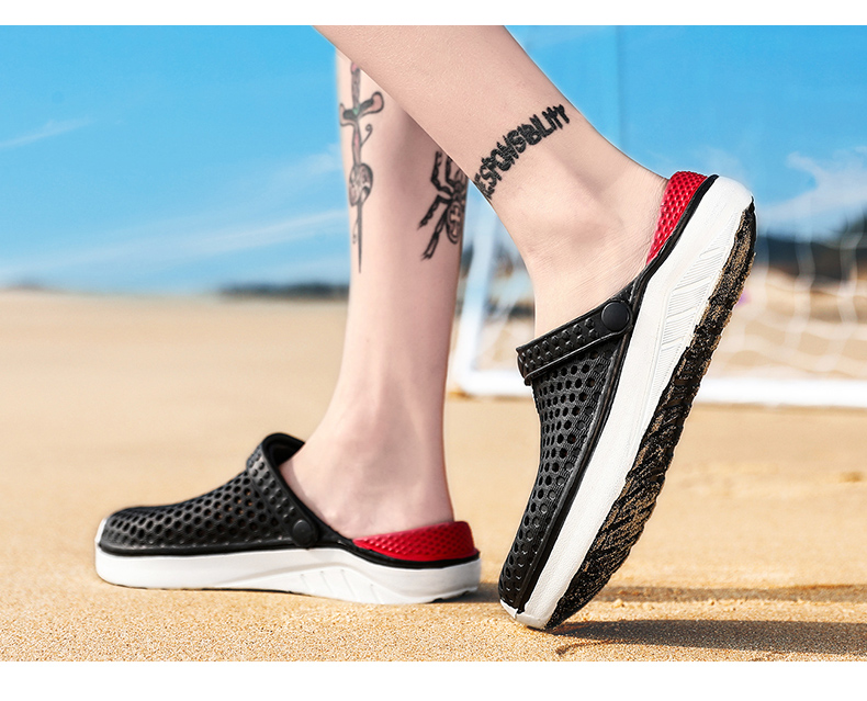 H0fa70ec2ddef4071adf5d45681b17810M - Summer Beach Sandals Lightweight Lovers Garden Shoes Non-slip Water Shoes Men White Slippers Clogs For Women Size 36-45
