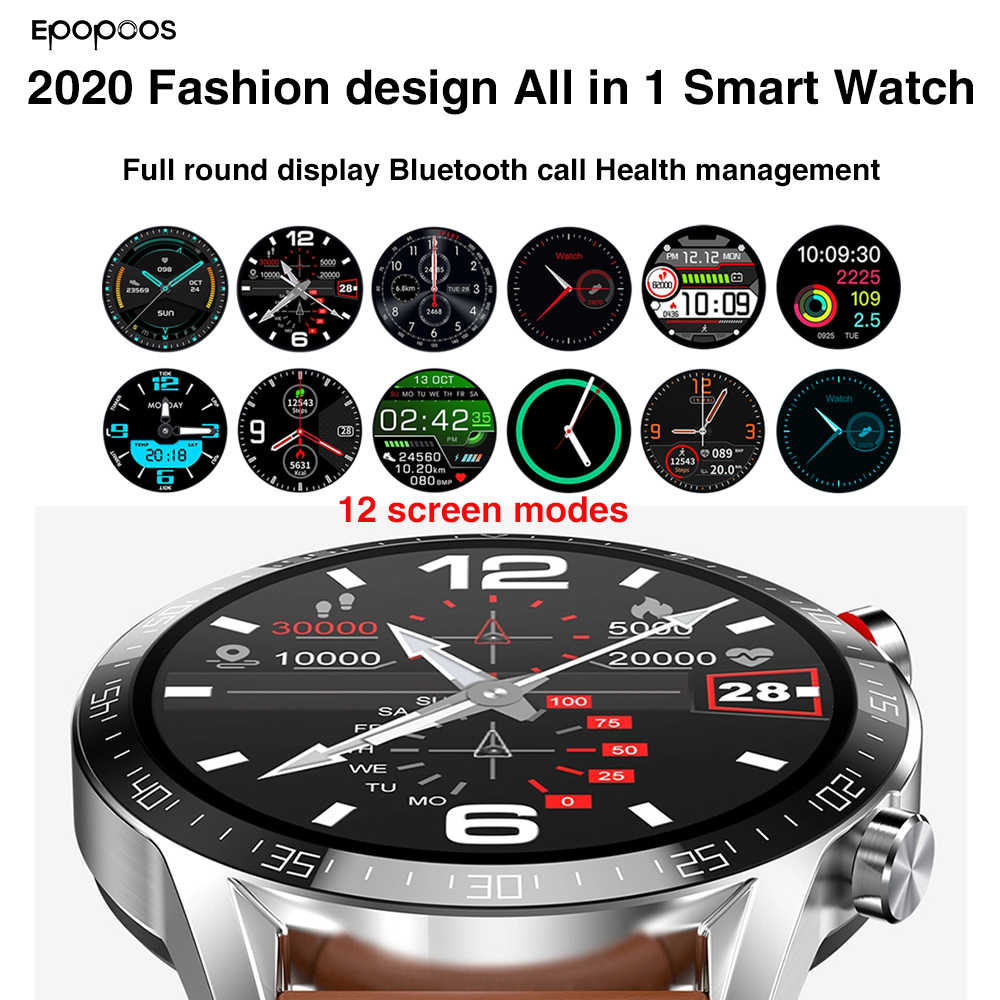 Alle In 1 Smart Horloge 2020 Smartwatch 1.3 Inch Full Screen Hartslag Bloeddruk IP68 Bluetooth Oproep Voor Mannen android Ios