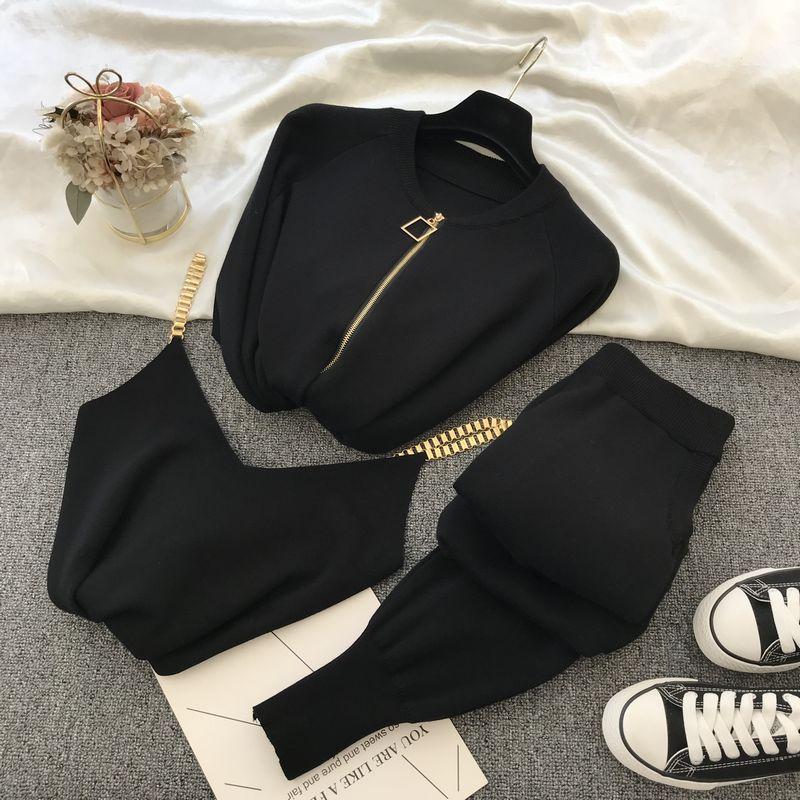 Amolapha Women 2020 Autumn Winter Knitted  Vest Zipper Cardigans Pants 3pcs Sets Tracksuits Outfits 2