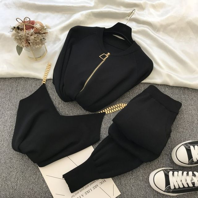 Amolapha Women 2020 Autumn Winter Knitted  Vest Zipper Cardigans Pants 3pcs Sets Tracksuits Outfits 2