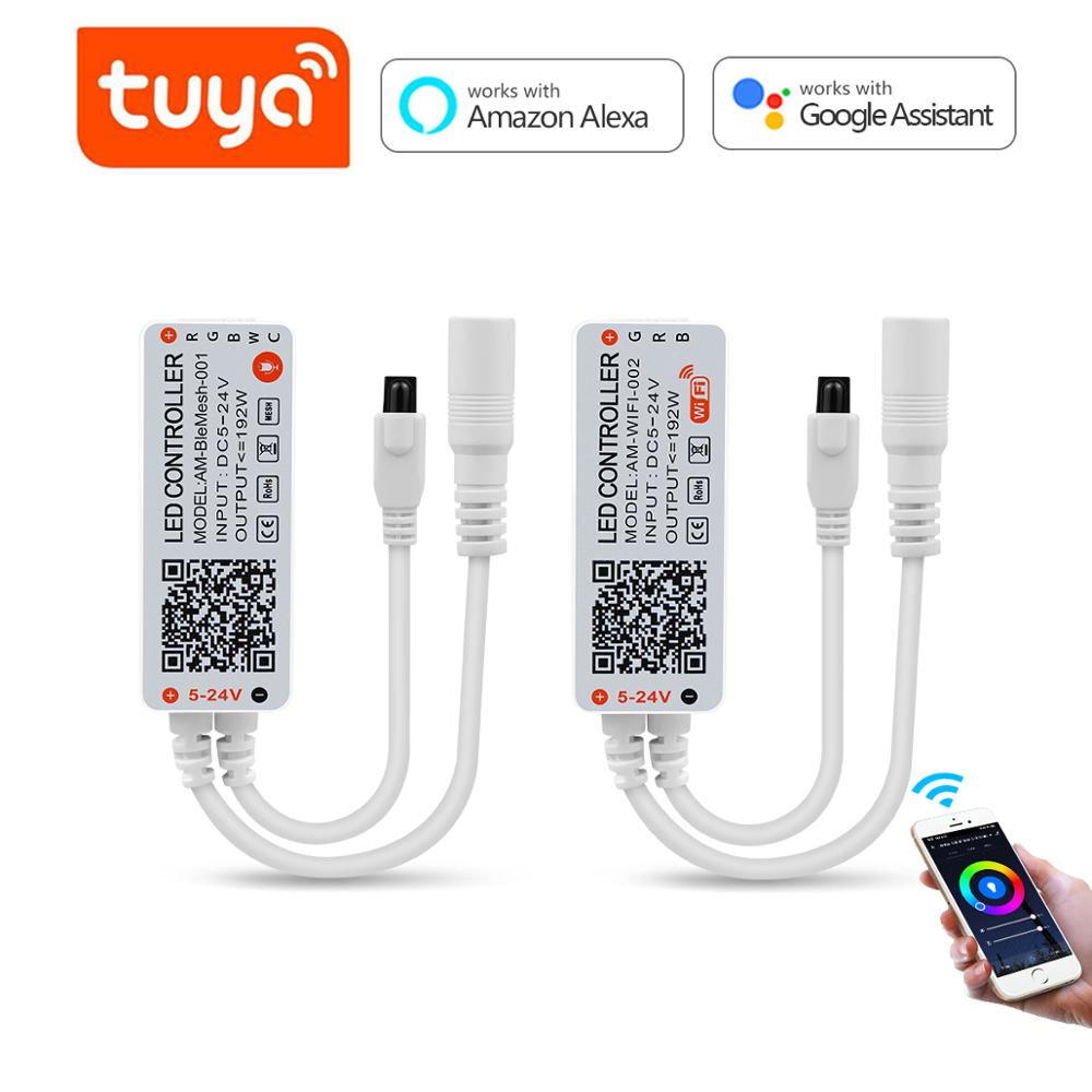 Tuya WiFi LED Strip light RGB Controller DC5V 12V 24V Bluethooth Wireless WIFI Smart Life LED Controller RGB/RGBW/RGB+CCT|LED Strips|   - AliExpress