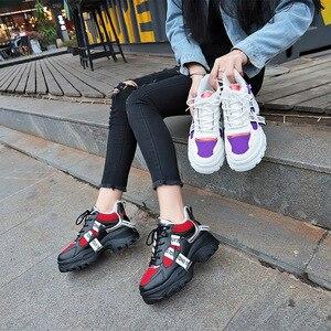Image 5 - WFL/женские кроссовки на платформе; Не сужающийся книзу массивный папа; Обувь на толстой нескользящей подошве; Модная обувь для женщин; Спортивная обувь
