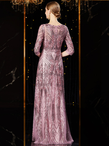 Image 2 - J1952 jancember günstige abendkleid lang o ansatz halbe hülse pattren pailletten spitze damen party kleider kleider damen abendkleid