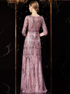 Image 2 - J1952 jancember זול שמלת ערב ארוך o צוואר חצי שרוול pattren נצנצים תחרה גבירותיי המפלגה שמלות kleider דמן abendkleid