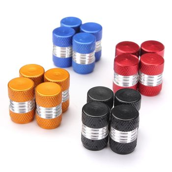 4PCS a set Car Truck Round Wheel Tire Valve Stem Cap Dust Cover Aluminum Alloy Black/Red/Yellow/Green/Blue/Purple image