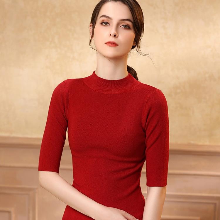 2021 вязанные Топы для женщин вязанная футболка корейский офисный