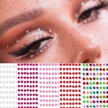 12 cores festa festival decoração rosto corpo colorido diamantes jóias adesivos 437 pces/folha auto adesivo sombra de olho diamante